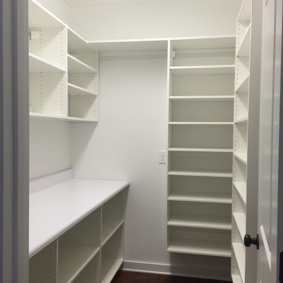 empty shelves in a pantry