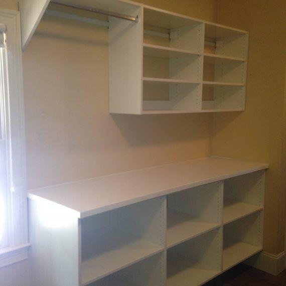empty laundry room shelves