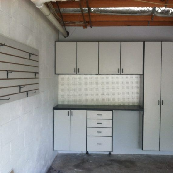 cabinets and shelves in a garage